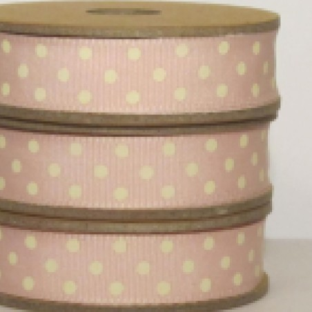 East of India Ribbon White Dots On Pink