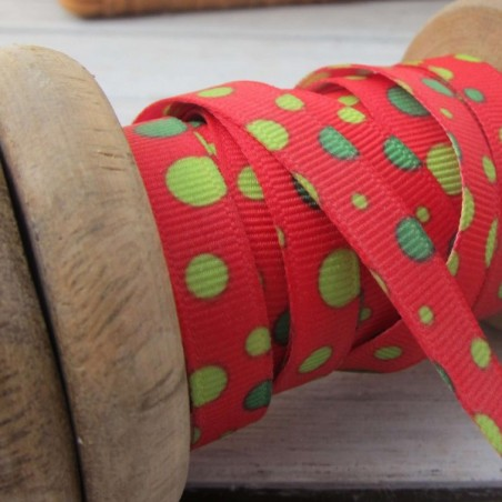 East of India Ribbon Red With Green Spots