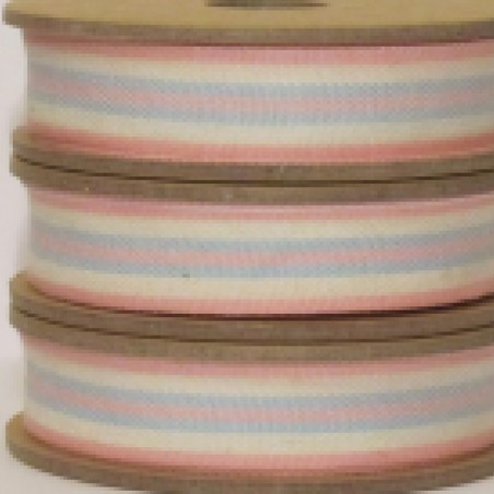 East of India Ribbon Blue & Pink Stripe on White