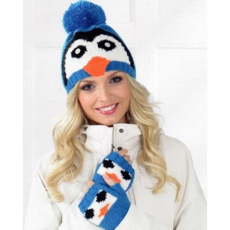 JB195 - DK Penguin Or Teddy Hat & Fingerless Gloves (Adult)