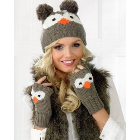 JB237 - DK Owl or Panda Hat & Fingerless Gloves